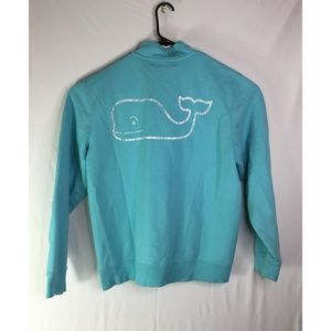 VINEYARD VINES 1/4 ZIP LIGHT BLUE SWEATER  MEDIUM